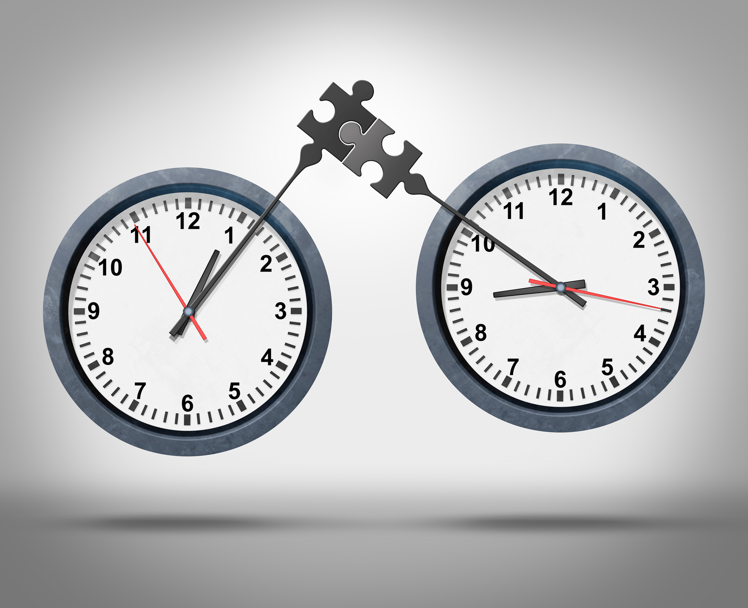 Time management concept as two clocks with minute hands connecting as a puzzle representing global business appointment schedules in sync or synchronization between different time zones as a corporate schedule metaphor.