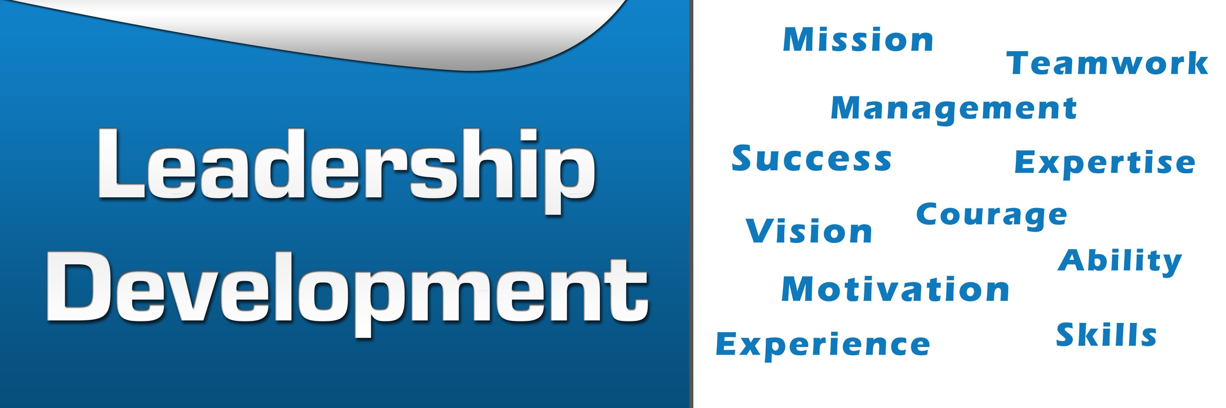 Leadership Development Wordcloud Blue Horizontal